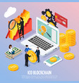 ico blockchain concept isometric composition vector image vector image