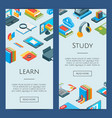 isometric online education icons 3d vector image