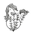 line unicorn hairstyle with heart and branches vector image