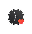 love time logo clock and heart symbol valentine vector image vector image