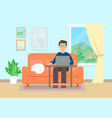 man working at home flat style vector image vector image