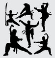 martial art and kungfu male and female silhouette vector image vector image