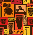 Musical seamless pattern of drum set vector image vector image