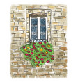 old house and window painting vector image vector image