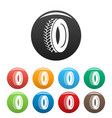 one tyre icons set color vector image vector image