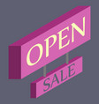 open door sign label with text in flat style vector image vector image