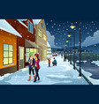 people walking in town during winter vector image vector image