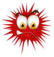 Red thorn ball with angry face vector image vector image