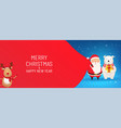 santa claus with huge red bag gifts on snowy vector image