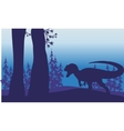 Silhouette of one allosaurus in forest vector image