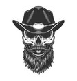 skull in the sheriff cap vector image vector image