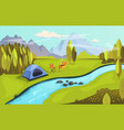 summer camping and nature tourism concept camping vector image