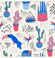 tropical abstract seamless pattern with cactuses vector image