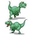 Two green dinosaurs on white vector image