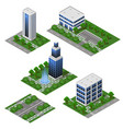 3d city modern buildings isometric city modules vector image vector image