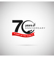 70 years anniversary logo with ribbon and hand vector image vector image