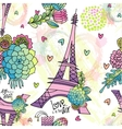 Abstract floral seamless pattern with Eiffel tower vector image vector image