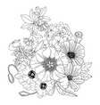 arrangement with spring flowers floral outlines vector image