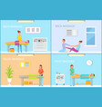 back and foot massage methods posters set vector image vector image