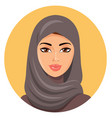 beautiful face of arabic muslim woman in hijab vector image vector image