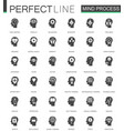 black classic mind process features web icons set vector image vector image