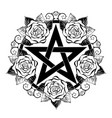 black pentagram with roses vector image vector image