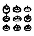 black silhouettes pumpkins icons for halloween vector image