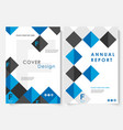 blue square annual report cover design template vector image
