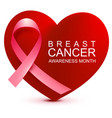 breast cancer awareness month pink ribbon on vector image