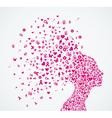 Breast cancer awareness ribbon woman head vector image vector image