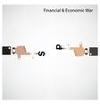 Businessman hand shooting financial or economic wa vector image vector image