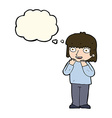 cartoon excited person with thought bubble vector image vector image