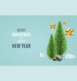 christmas background with christmas pine fir tree vector image vector image