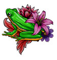 cute frog cartoon cartoon frog sitting with vector image vector image