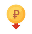 falling rouble icon golden coin vector image vector image