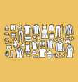 fashion collection hand drawn clothes sketch vector image