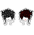 Female head with rose flowers in a hair vector image vector image