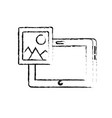 figure tablet technology with picture icon vector image vector image