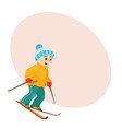 funny boy skiing downhill with place for text vector image vector image