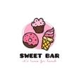 funny cartoon style sweets bar logo vector image vector image
