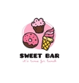 funny cartoon style sweets bar logo with vector image vector image