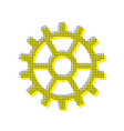 gear sign yellow icon with square pattern vector image vector image