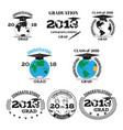 graduation 2018 flat emblem badge set vector image