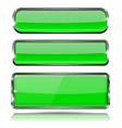 green glass 3d buttons with chrome frame oval and vector image vector image