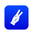 hand showing victory sign icon digital blue vector image