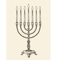 Hanukkah menorah Vintage sketch vector image vector image
