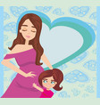 happy kid girl hugging pregnant mothers belly vector image