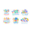 happy kids holday labels design collection happy vector image vector image