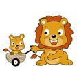 happy lion family cartoon vector image vector image