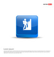 hiking icon - 3d blue button vector image